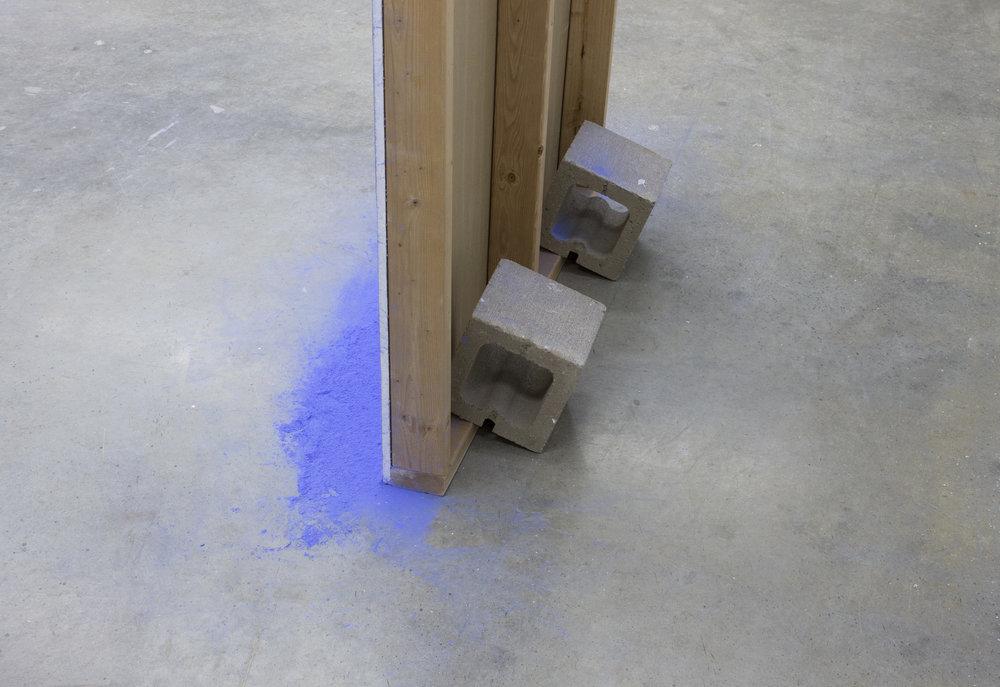 chalk lined chalk lines and cinder blocks (back detail)