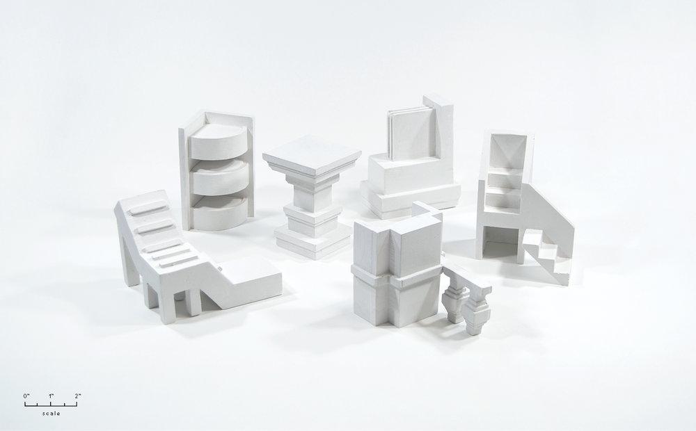 Monumental Fragments  (plaster miniatures)