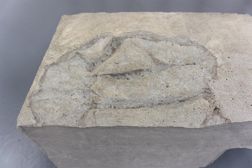 concrete block with silicone mold impression