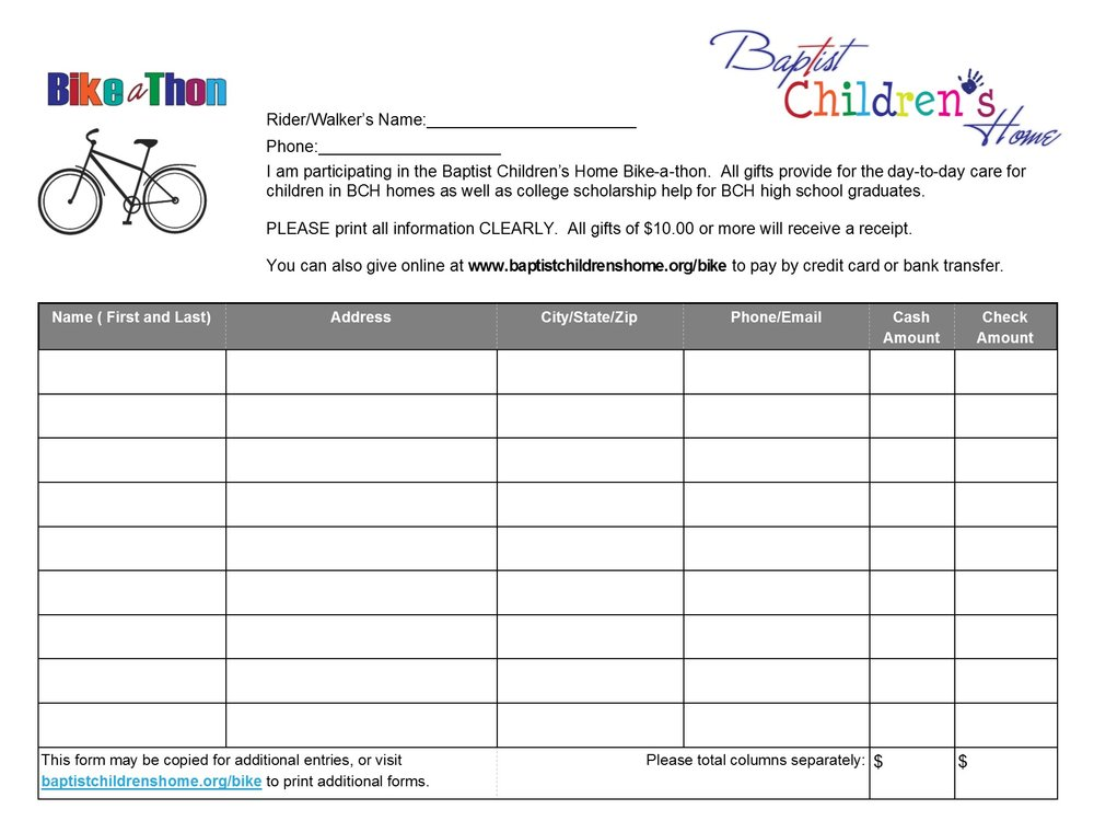 Bike-A-Thon Sponsor Sheet -