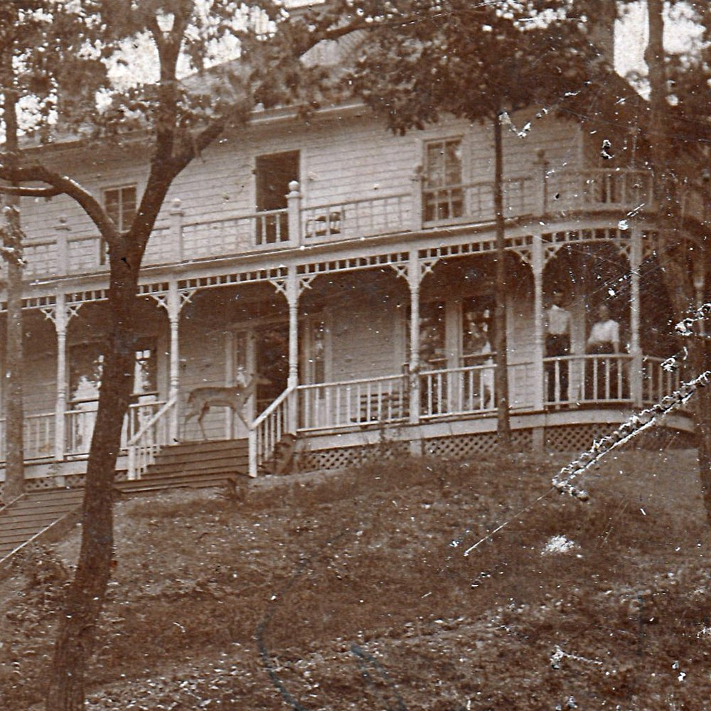 This closer view of the house clearly shows the fearless deer standing on the porch.