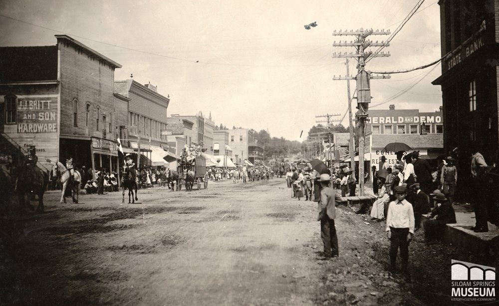Parade in Siloam Springs, early 1900's.