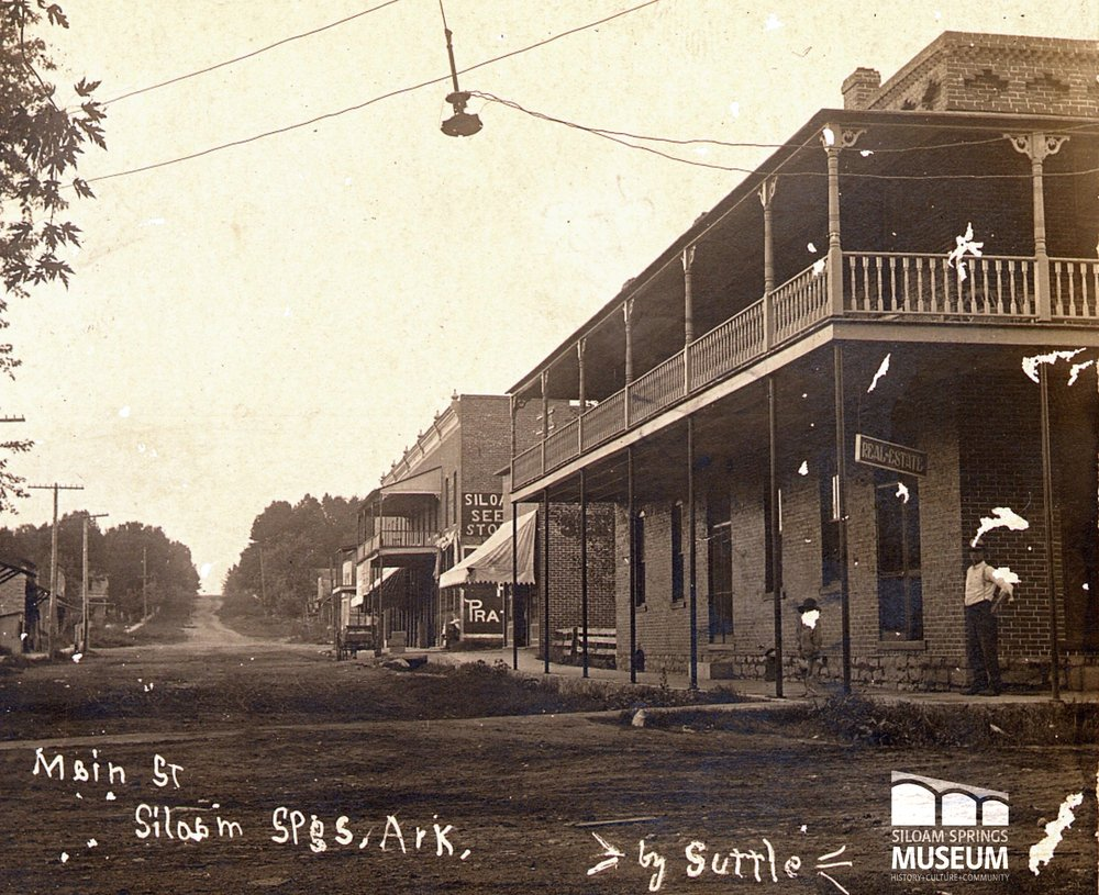 This photo of the Lakeside Hotel (now the Crown Hotel) was taken around 1900. The photo was taken looking north from the intersection of present day North Wright and West University. At the time, these streets were called Main Street and St. John Street, respectively.