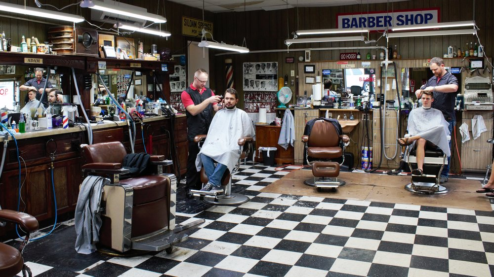 Inside City Barber Shop.