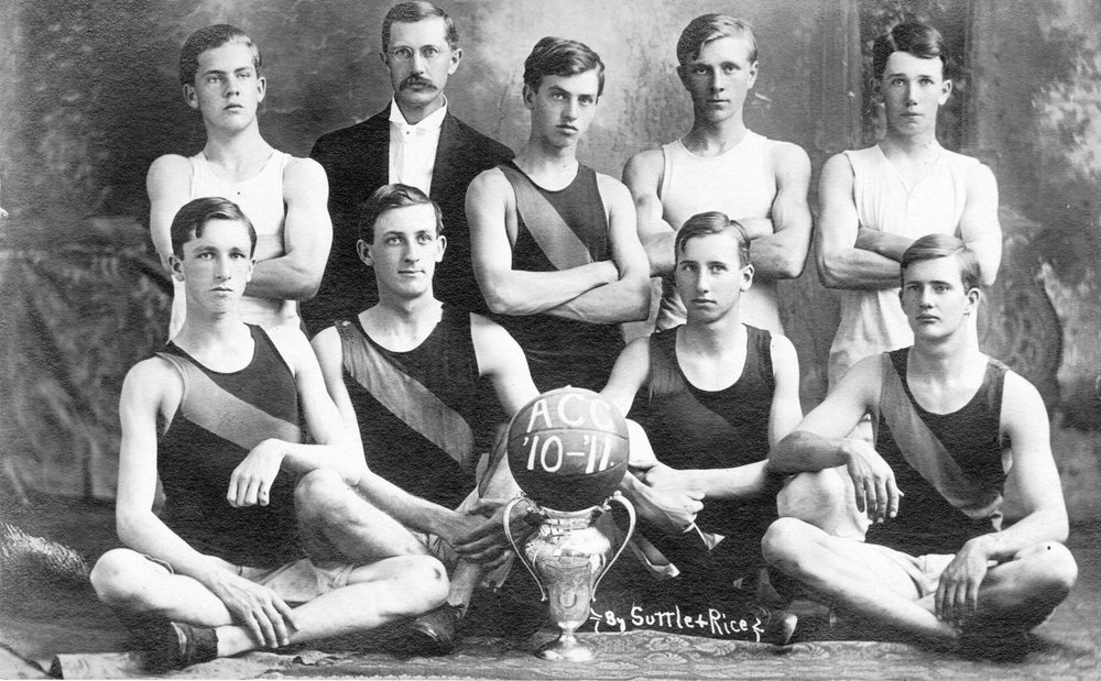 The 1910-1911 basketball team from Arkansas Conference College, a school which once stood on the grounds of Southside Elementary School.