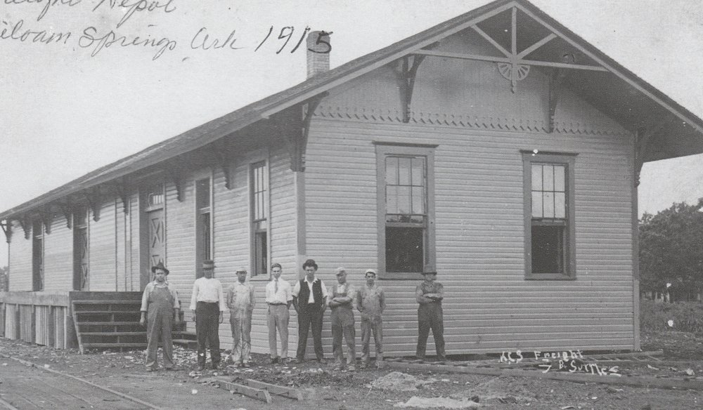 This was the first depot built in Siloam Springs to accommodate the railroad. Photo from  Images of America: Siloam Springs by Don Warden, used with permission.