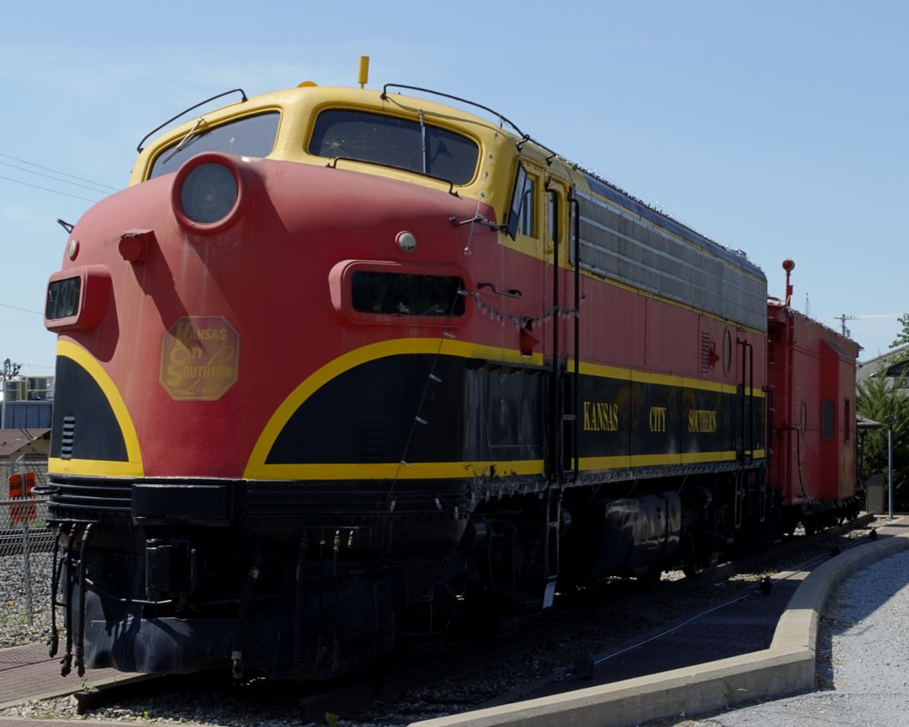 This Kansas City Southern locomotive is on display in Decatur, Arkansas.