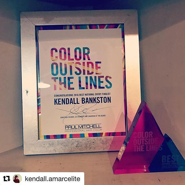 #Repost @kendall.amarcelite with @repostapp ・・・ A few months ago, I got a call from Paul Mitchell corporate to tell me that I was one of three finalists in the country for a color competition that I entered!  I screamed/squealed/cried and couldn't believe it!  This is my proof!  #blessed #bestjob #colorspecialist #colorist #paulmitchellnationaleducator #coloroutsidethelines #finalist