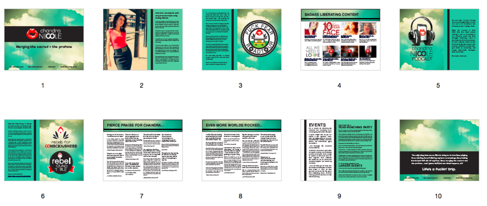 INNER PAGE LAYOUT (10 pages).  Also designed the following on the inner pages: cohesive suite of logos including F*ck Fear Roadtour, Chandra Nicole podcast, Rebels for Consciousness and Rebel Roundtable.