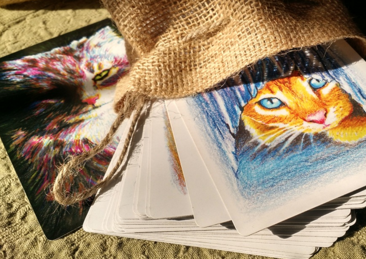 "Read more about the Catitude Deck by student and shaman Sharon Bechtold ""I never would have finished this or even known how to proceed without this course and the warm encouragement. Thank you, I think you have started me on to something amazing. Now, on to my next project!"""