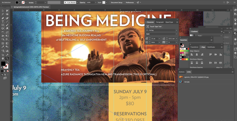 Current layout-in-progress: print flyer for Being Medicine event with  Rangzom Tsele