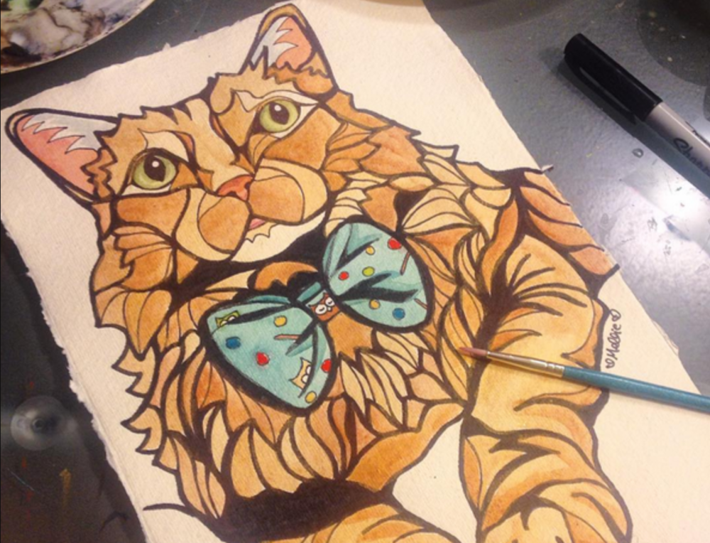 Fluff of  @gingersgeorgefluffcalicoizzy  on Instagram - a custom cat pet portrait which I also used (with permission) in my  Messages of Meow Oracle Deck