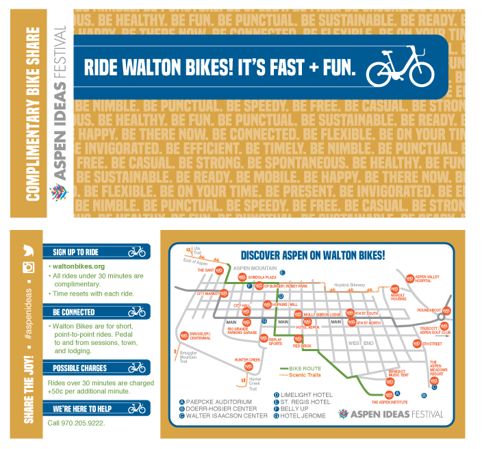RACK CARD (FRONT and BACK). Bike pass was attached to the front underneath the text in the blue bar.