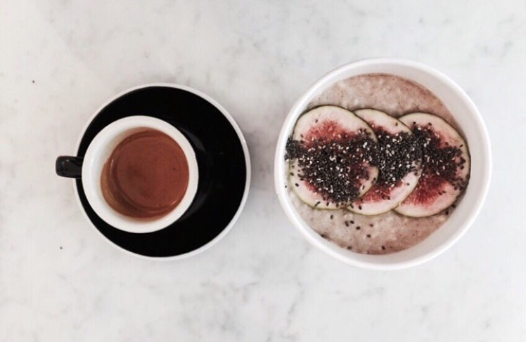 Porridge with figs, chia seeds and agave nectar. Image credit: Lundewick