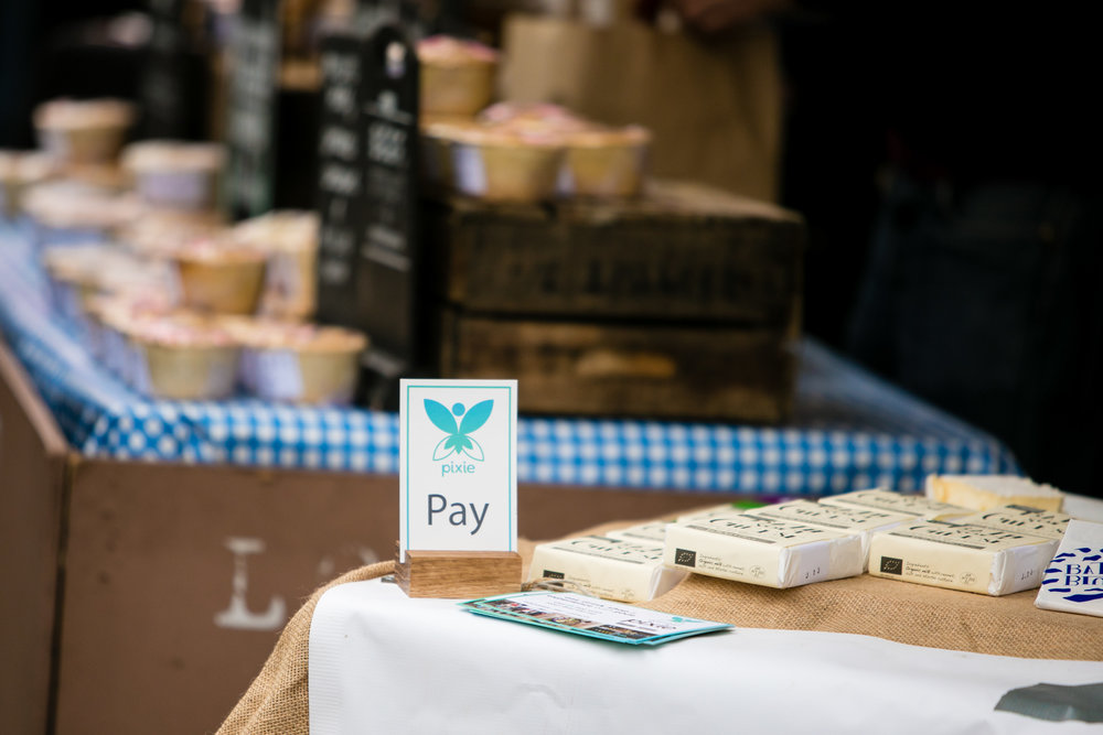 Bath Soft Cheese proudly displaying their Pixie stand!