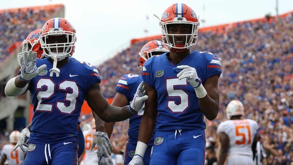 The Florida Gators' Chauncey Gardner-Johnson and CJ Henderson.