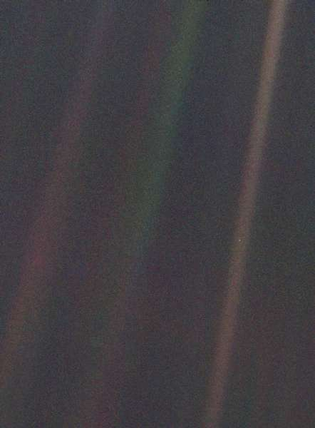 The Pale Blue Dot is seen as a speck in the far right Line. Photo Credit NASA