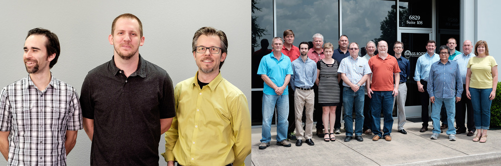 The core Modula Optical team (left) and extended Brass Roots Technologies team (right)