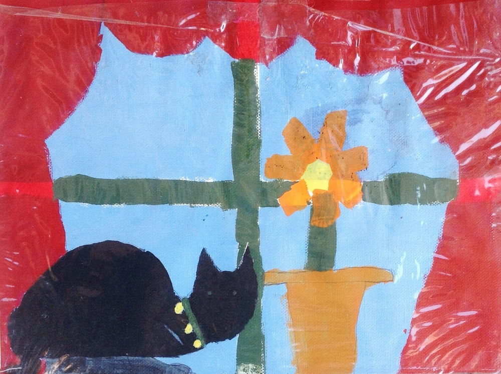 "One of my early paintings from childhood. Circa 1995. I entered this in a ""Reflections"" art contest for school in 3rd grade. Titled ""The Lookout"" here's what I wrote as a child: ""Sometimes kitties have to 'lookout' from inside to the outside world. My kitty is lucky. He sees the outside world from outside! At the 'lookout.'"" At this age, I had my own 'lookout' point at home, that looked over hills and valleys. One of my favorite hidden spots among the trees of our property. My experiences with nature have always influenced my artwork."