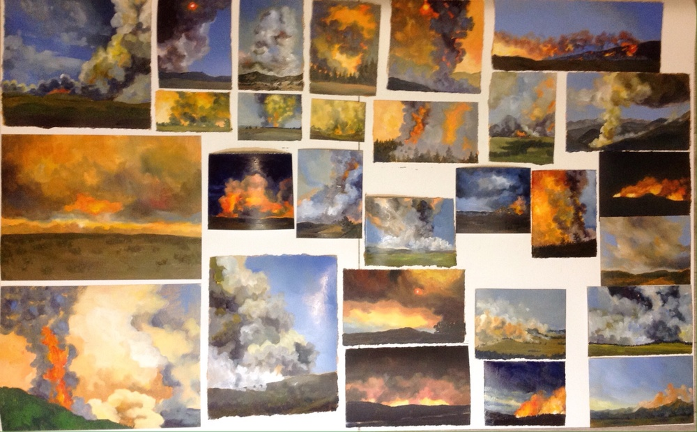 Finished! 28 paintings in one day. Sizes vary from 2x3 inches to 8x10 inches.