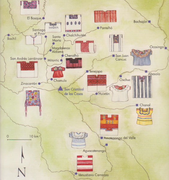 A MAP OF CHIAPAS, WITH ITS DIFFERENT HUIPILES