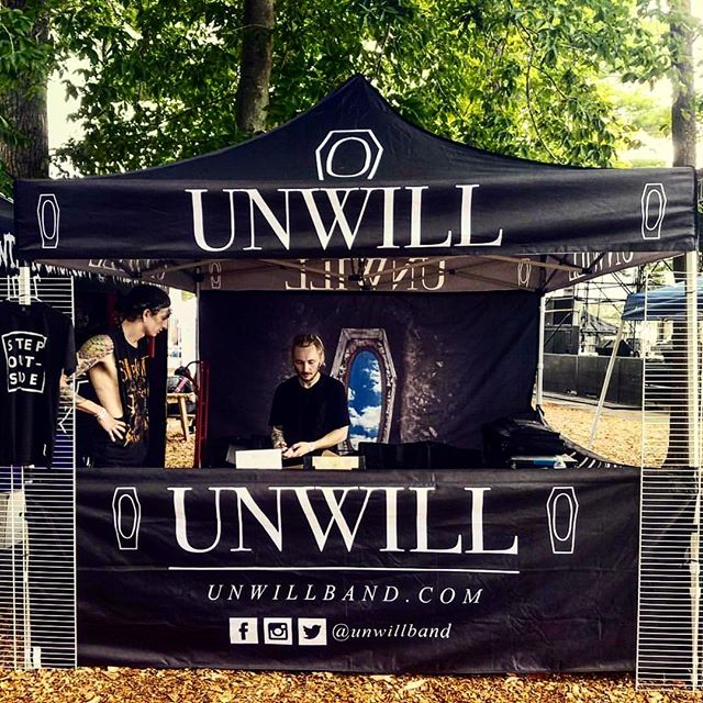 @unwillband all set up at Warped Tour yesterday. Tons of rain but the guys killed it.