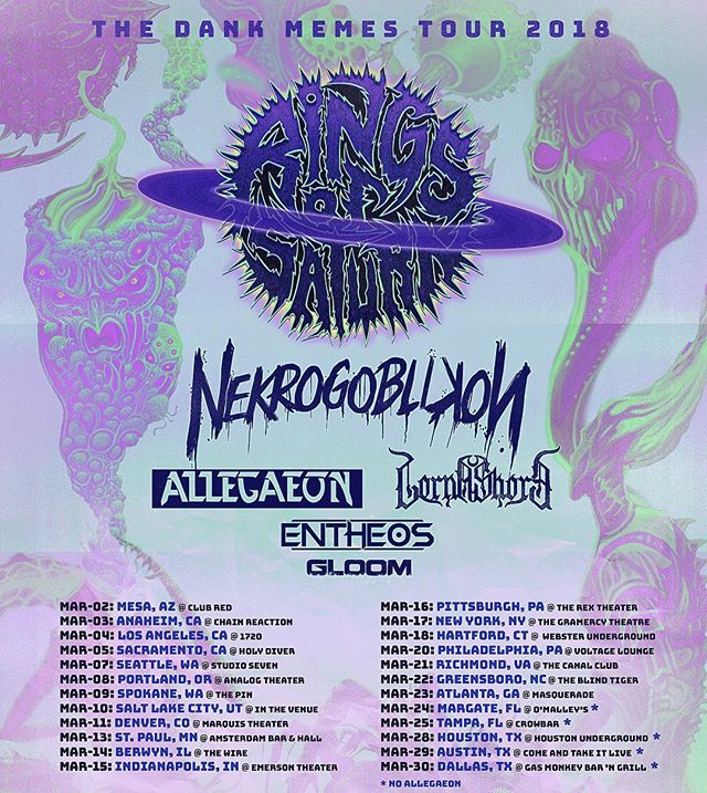 Catch @gloom_dc destroy on the remainder of their tour with Rings of Saturn, Nekrogoblikon and more!#dankmemestour