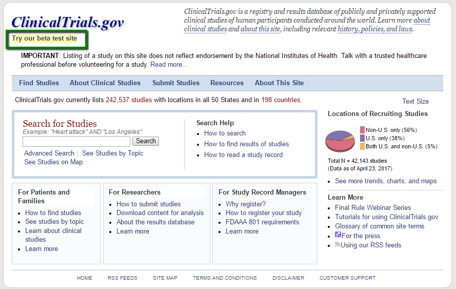 Clinical Trials Gov Beta Test Site