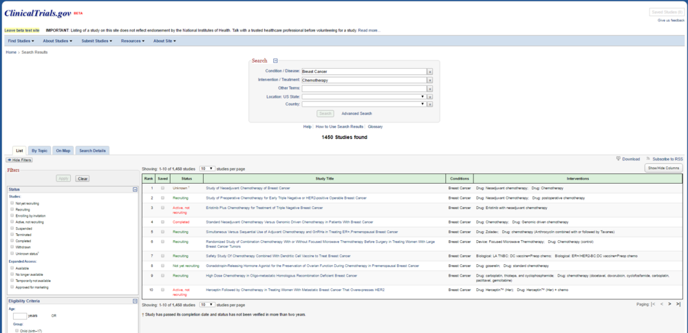 The new table-style results page