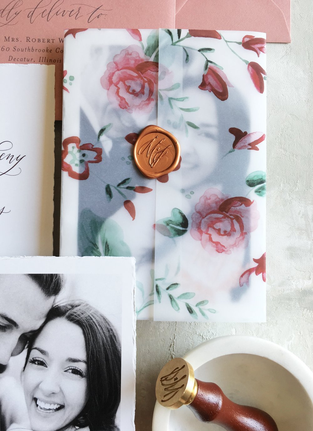 Hand Painted Vellum Save the Date