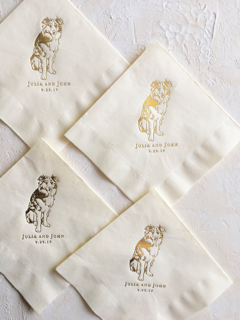 Pet Cocktail Napkins - Shown in Shiny Gold on Ivory Buffet Napkins