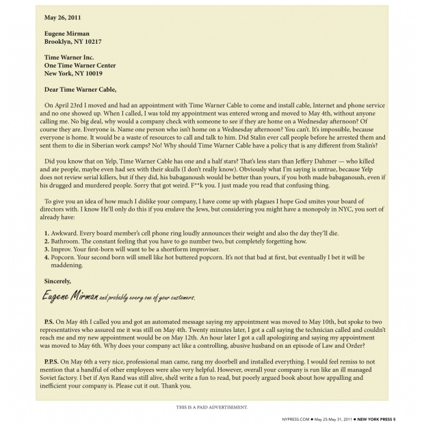 My Letter to Time Warner Cable Eugene Mirman – Complaint Letters to Companies