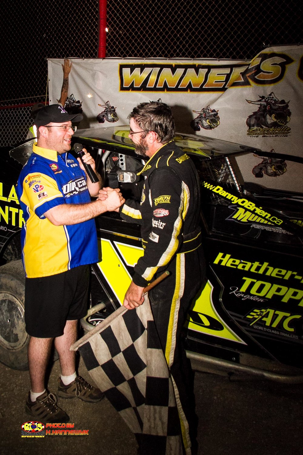 TIm Baltz congratulates Danny O'Brien, on his BOS/Ogilvies Auto & Fleet win. June 30, 2018