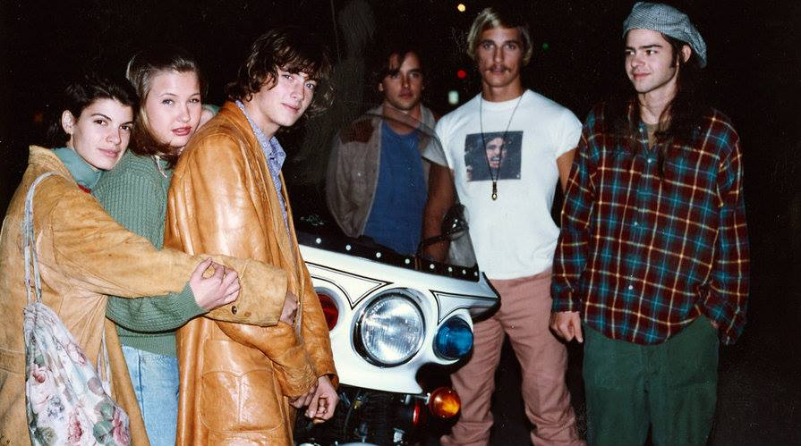 fuckyeahdirectors :     Christine Harnos, Joey Lauren Adams, Jason London, Richard Linklater, Matthew McConaughey and Rory Cochrane on-set of   Dazed and Confused (1993)