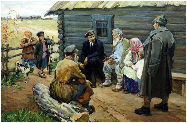 Realismo y propaganda en el arte soviético. Aquí se observa a Lenin junto a unos aldeanos.