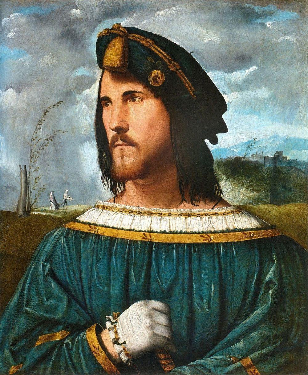 César Borgia (por Altobello Melone), hijo del Papa Alejandro VI (Rodrigo Borgia) y hermano de la célebre Lucrecia Borgia.