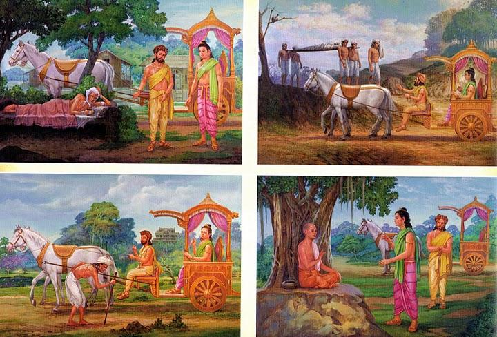 Las cuatro salidas y visiones de Siddhartha: vejez, la enfermedad, la muerte y el monje