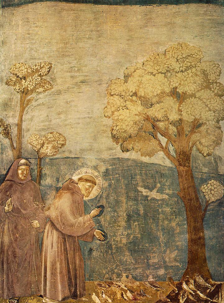 San Francisco predicando a los pájaros, por Giotto di Bondone, Basílica de San Francisco de Asís.