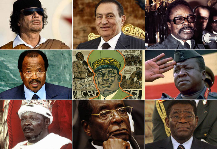 Algunos de los dictadores en África:Muammar Kadafi (Libia),Hosni Mubrak (Egipto),Omar Bongo (Gabón),Paul Biya (Camerún),  Idi Amin (Uganda), Robert Mugabe (Zombabue)