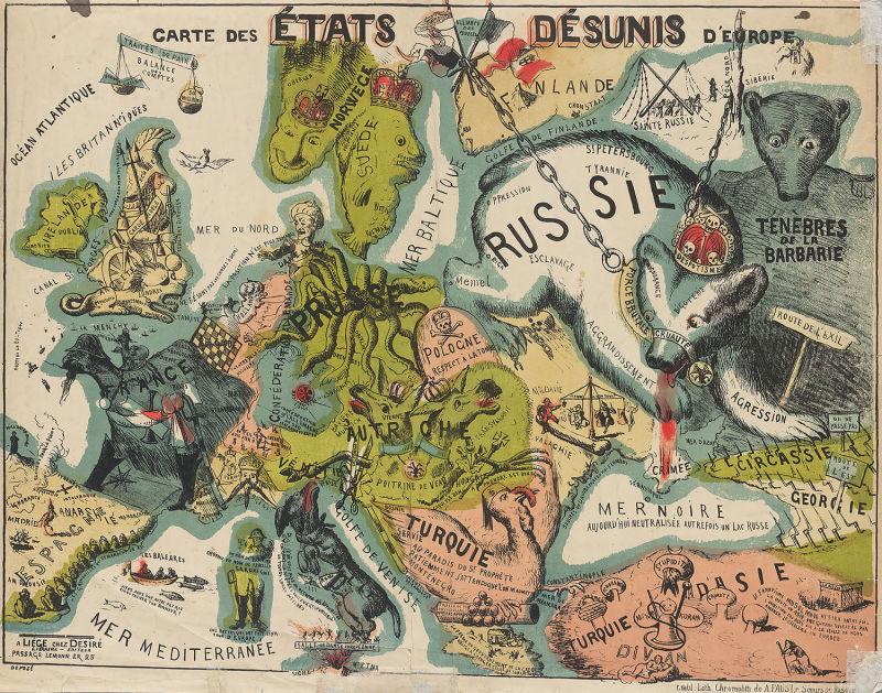 """Europa en 1864: arriba se peude leer """"Los Estados desunidos de Europa"""""""