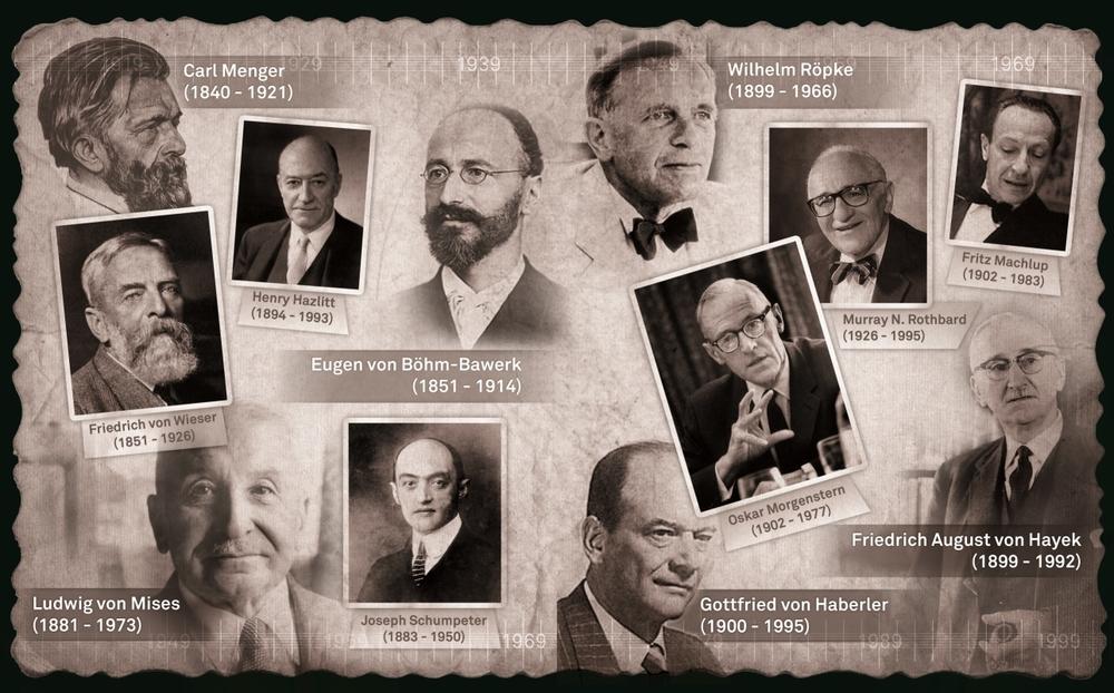 Fruto de la llegada de Hitler al poder varios economistas austriacos huyeron y dersarrollaron sus carreras e ideas en el extranjero. En la foto algunos de ellos (no todos pertenecen a la Escuela Austriaca de Economía)