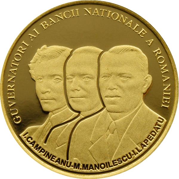 Moneda conmemorativa que muestra los directores del Banco Nacional de Rumania, entre ellos Manoilescu
