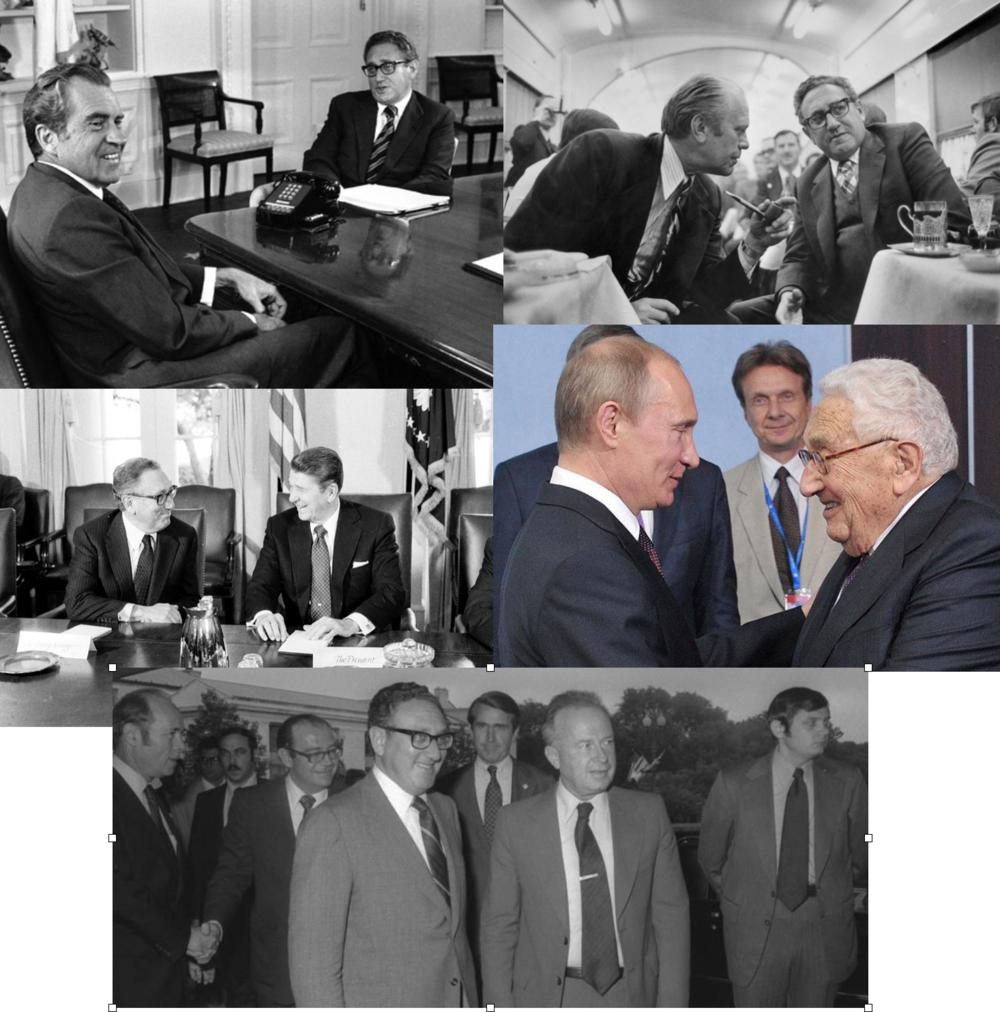 Un hombre y muchos líderes: Kissinger junto a: Nixon, Ford, Reagan, Putin y Yitzhak Rabin