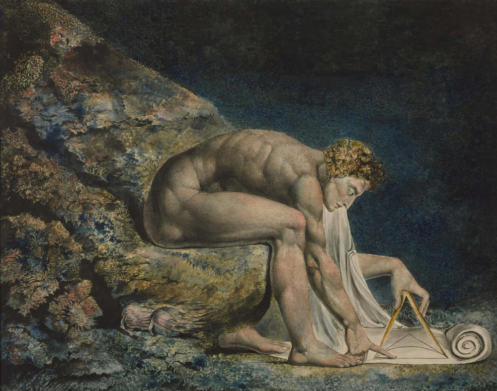 """Monotipo donde el Poeta William Blake (1757-1827) retrata a Isaac Newton el personaje que encarnaba por antonomasia al hombre que descubría las leyes inmutables de la naturaleza, así como el funcionamiento de la mecánica del mundo. Blake fue un fuerte opositor a esta """"visión científica"""" del mundo puesto que sacrificaba otros aspectos más elevados del ser humano."""