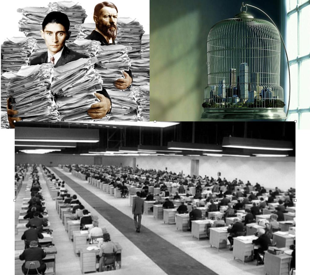 El proceso de racionalización y burocratización de las sociedades capitalistas fue descrita tanto por Max Weber como por el escritor Franz Kafka, en virtud del cual los individuos nos encontramos atrapados dentro de un sistema que sólo nos valora bajo estrictos criterios de eficiencia y productividad, y en donde, además, se produce una desperzonalización de las relaciones entre las personas.