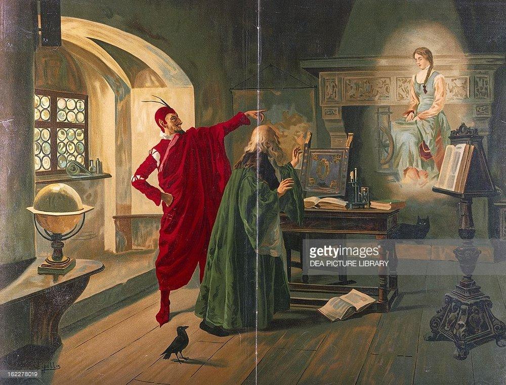 Mefistófeles, Fausto y Margarita (por Fabio Cipolla, siglo XIX)