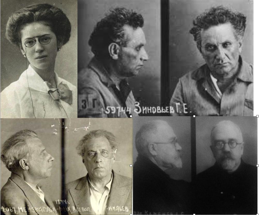 Victimas del stalinismo: La pianista azerbaiyana Khadija Gayibova; Grigory Zinoniev (arriba derecha); Director de teatro Vsevolod Meyerhold (abajo izquierda) y Lev Kámenev.