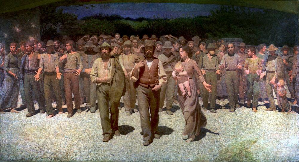 """""""El Cuarto Estado"""" (proletariado), óleo de  Giuseppe Pellizza da Volpedo (1901) Museo del Novecento, Milán."""