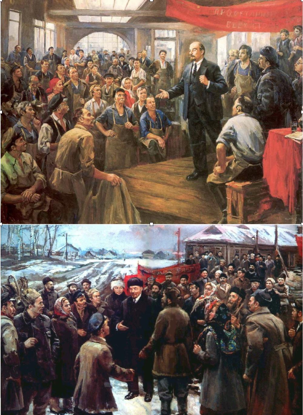 El arte al servicio de la revolución: Lenin con trabajadores urbanos y campesinos
