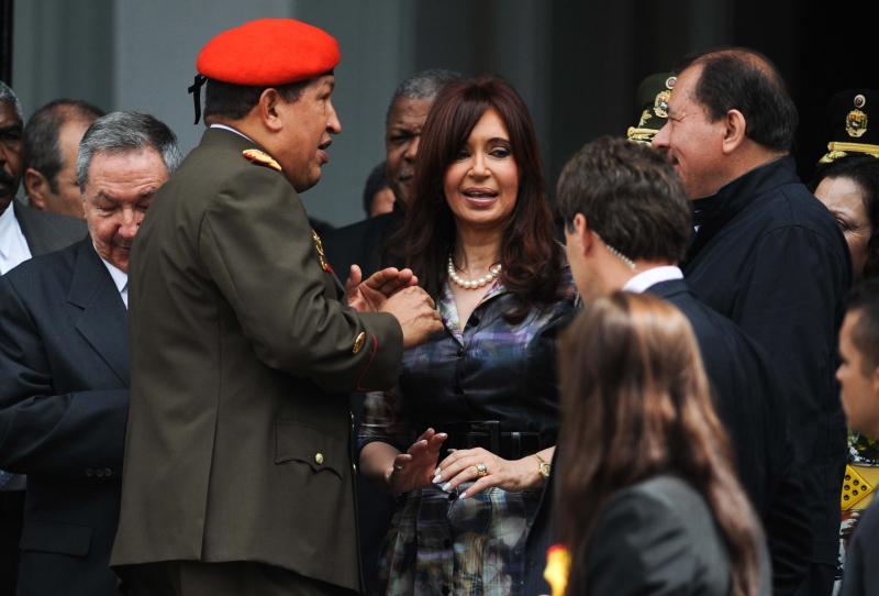 Raul Castro, Hugo Chávez, Cristina Fernández y Daniel Ortega